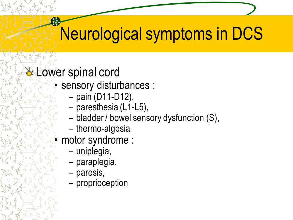 Neurological symptoms in DCS