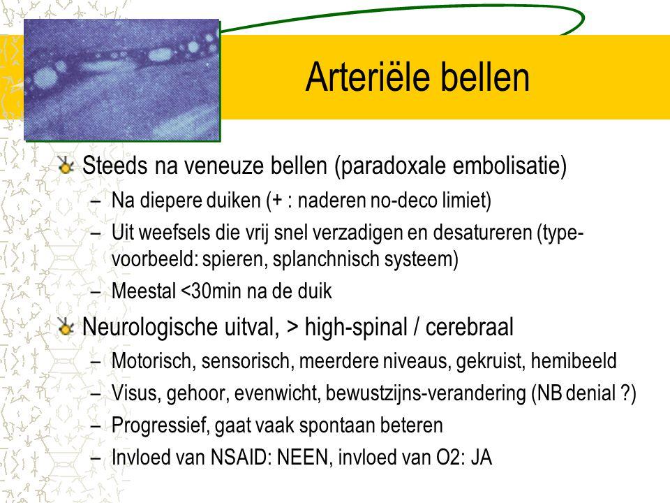 Arteriële bellen Steeds na veneuze bellen (paradoxale embolisatie)