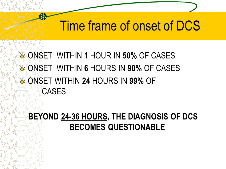 Time frame of onset of DCS
