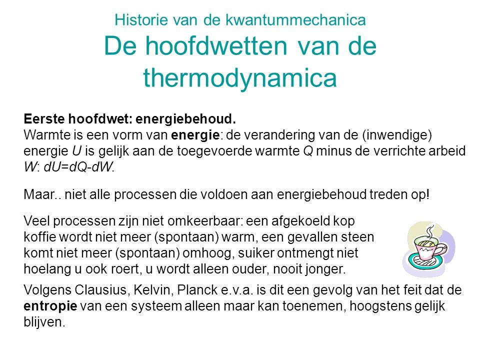 Historie van de kwantummechanica De hoofdwetten van de thermodynamica
