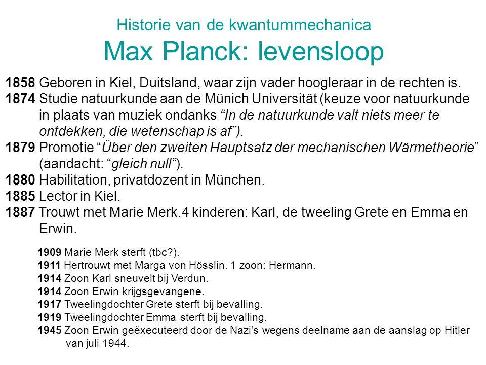 Historie van de kwantummechanica Max Planck: levensloop