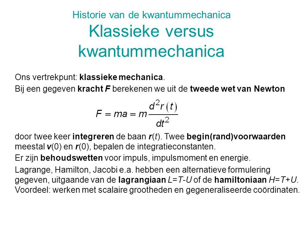 Historie van de kwantummechanica Klassieke versus kwantummechanica