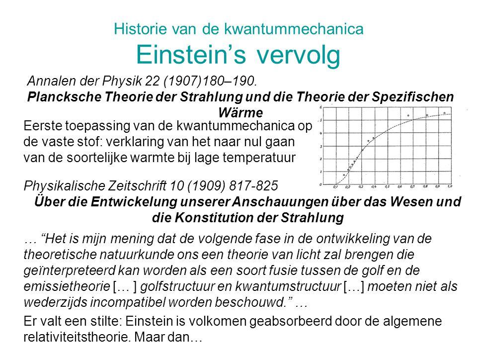 Historie van de kwantummechanica Einstein's vervolg