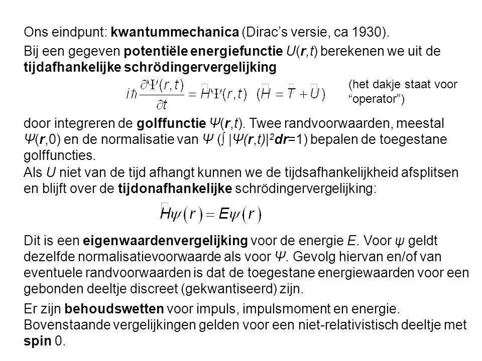 Ons eindpunt: kwantummechanica (Dirac's versie, ca 1930).
