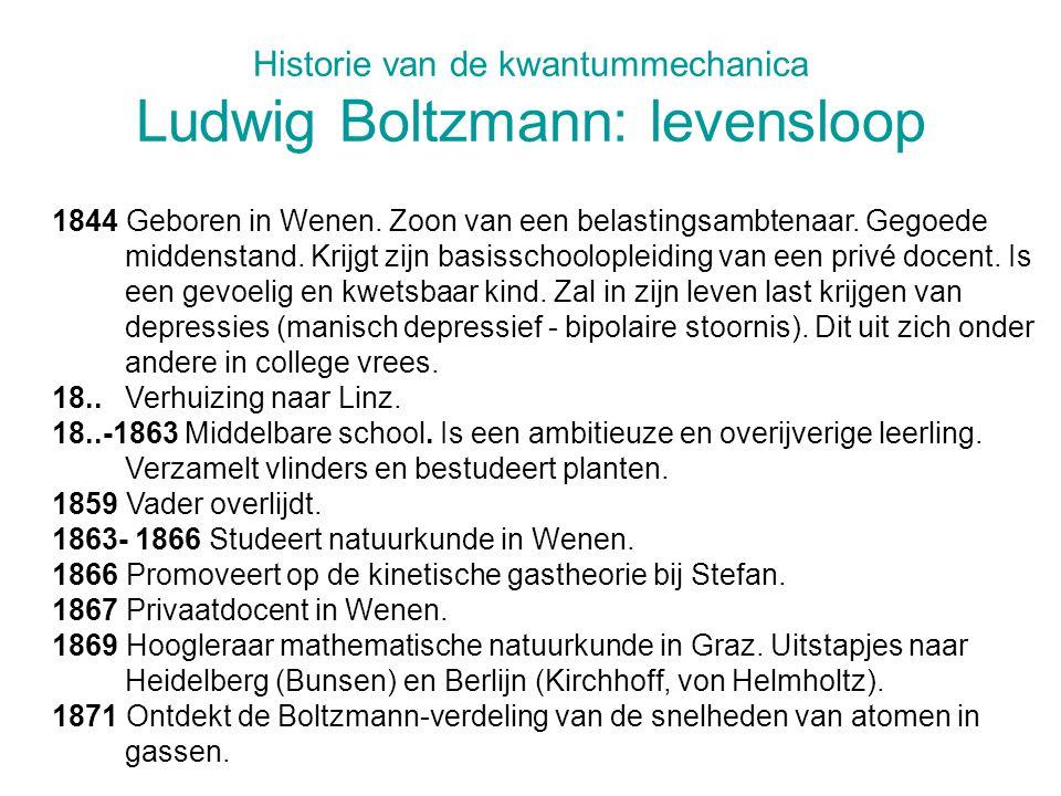 Historie van de kwantummechanica Ludwig Boltzmann: levensloop