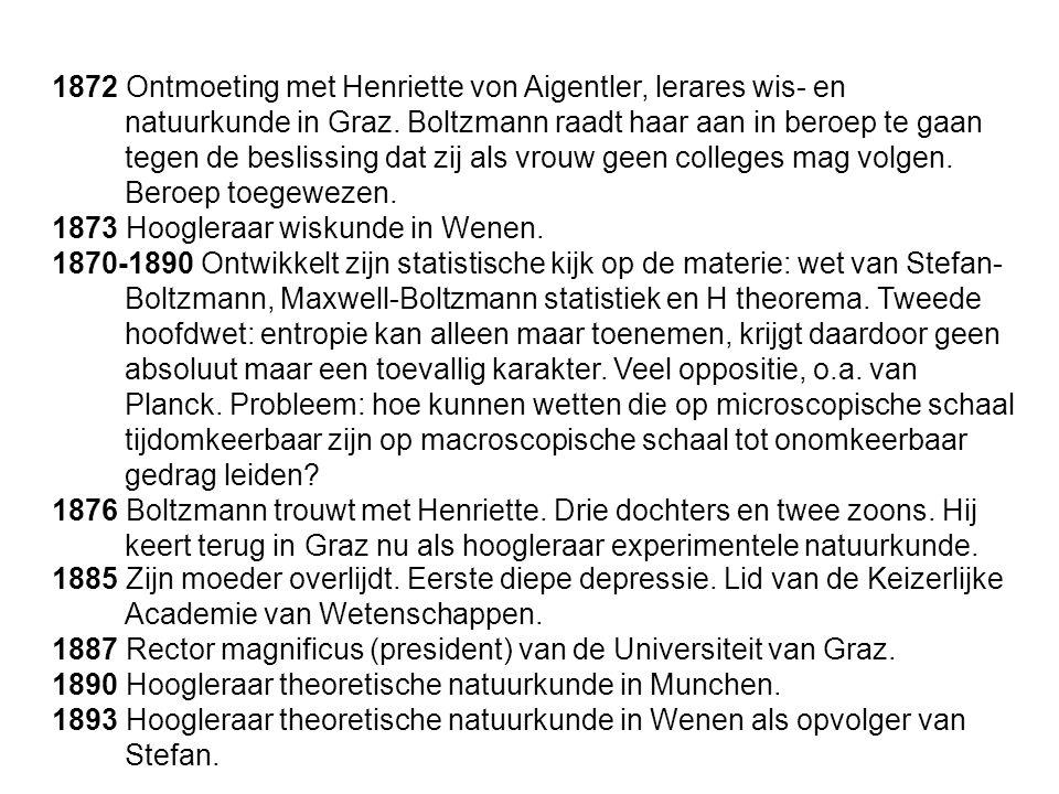 1872 Ontmoeting met Henriette von Aigentler, lerares wis- en natuurkunde in Graz. Boltzmann raadt haar aan in beroep te gaan tegen de beslissing dat zij als vrouw geen colleges mag volgen. Beroep toegewezen.