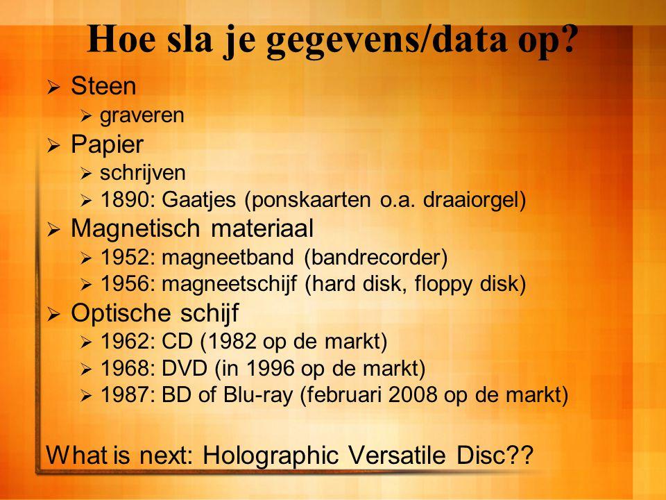 Hoe sla je gegevens/data op