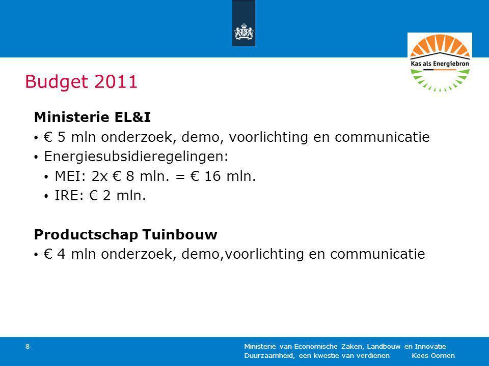 Budget 2011 Ministerie EL&I