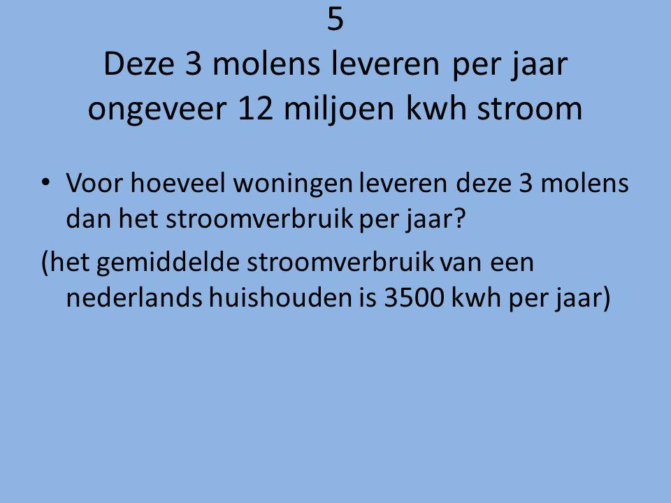5 Deze 3 molens leveren per jaar ongeveer 12 miljoen kwh stroom