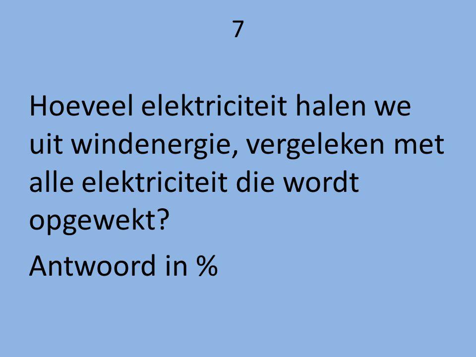 7 Hoeveel elektriciteit halen we uit windenergie, vergeleken met alle elektriciteit die wordt opgewekt