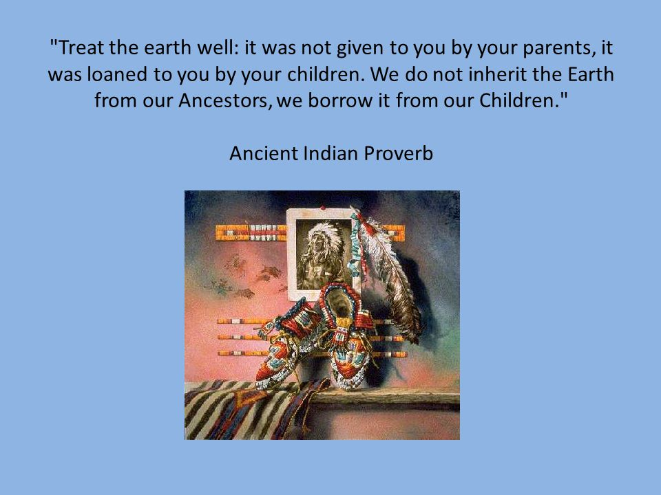 Treat the earth well: it was not given to you by your parents, it was loaned to you by your children.