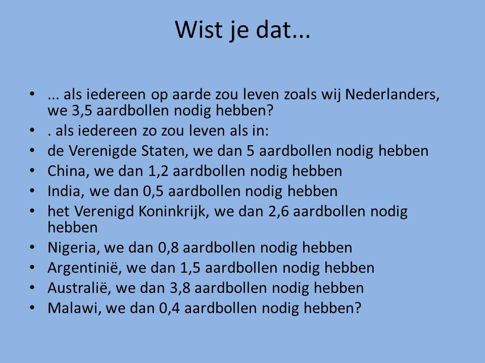 Wist je dat... ... als iedereen op aarde zou leven zoals wij Nederlanders, we 3,5 aardbollen nodig hebben