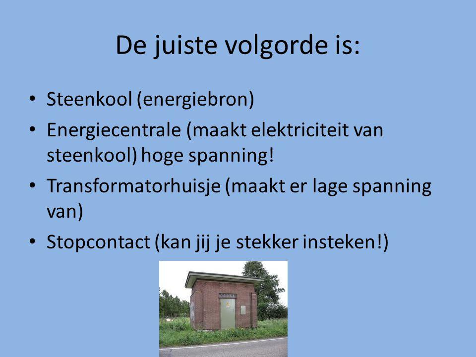 De juiste volgorde is: Steenkool (energiebron)