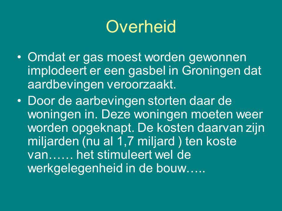 Overheid Omdat er gas moest worden gewonnen implodeert er een gasbel in Groningen dat aardbevingen veroorzaakt.
