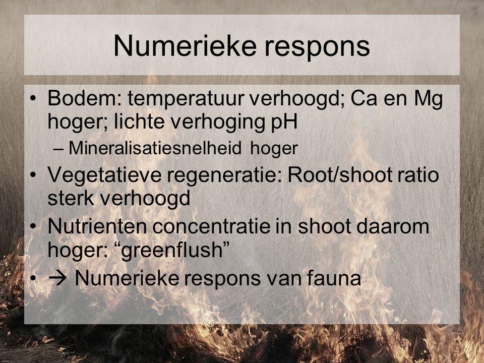Numerieke respons Bodem: temperatuur verhoogd; Ca en Mg hoger; lichte verhoging pH. Mineralisatiesnelheid hoger.