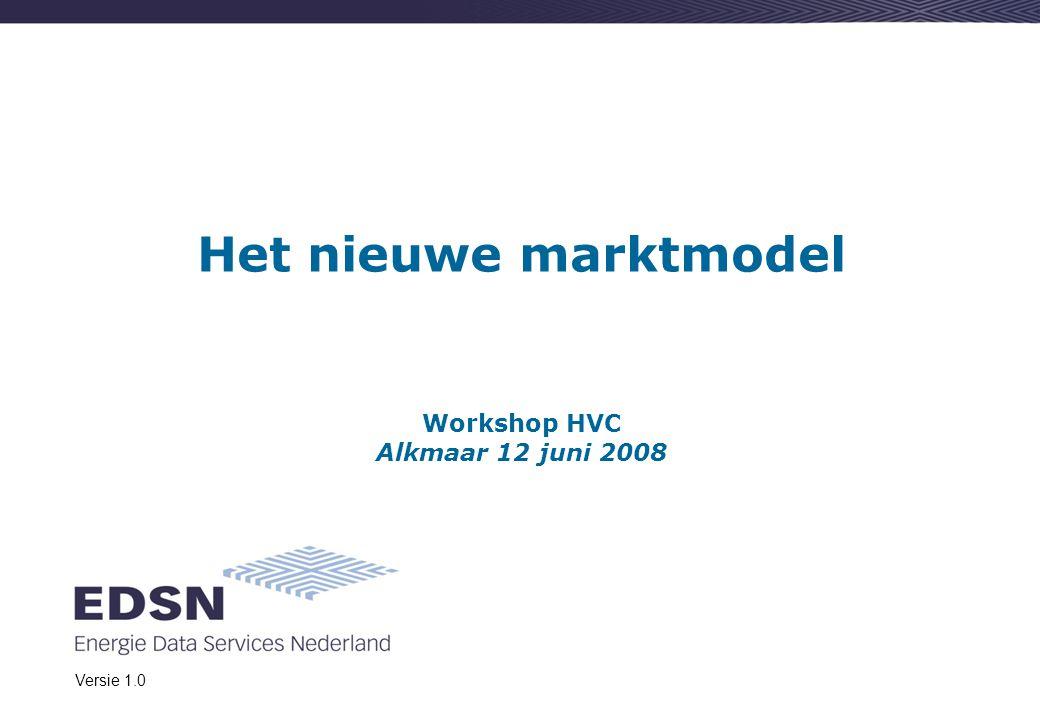 Het nieuwe marktmodel Workshop HVC Alkmaar 12 juni 2008 Versie 1.0