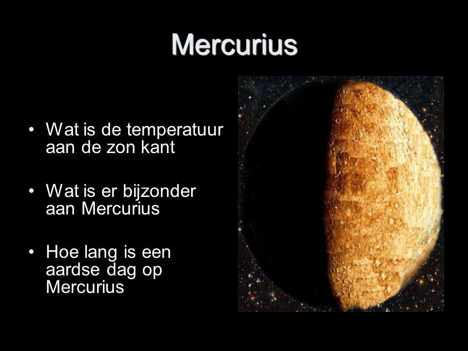 Mercurius Wat is de temperatuur aan de zon kant