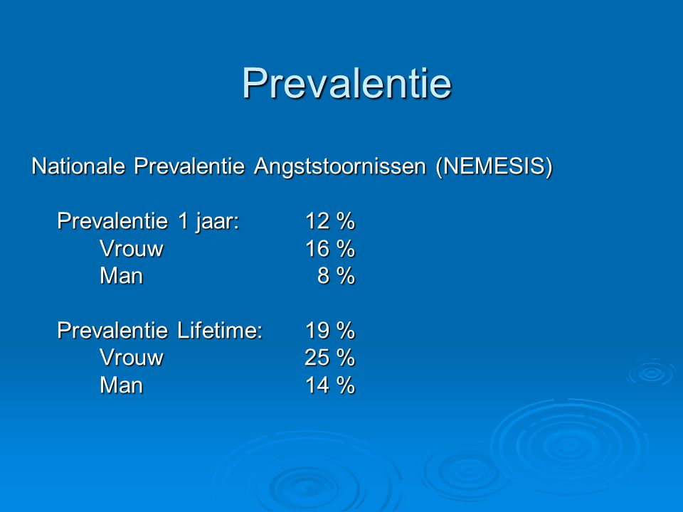 Prevalentie Nationale Prevalentie Angststoornissen (NEMESIS)