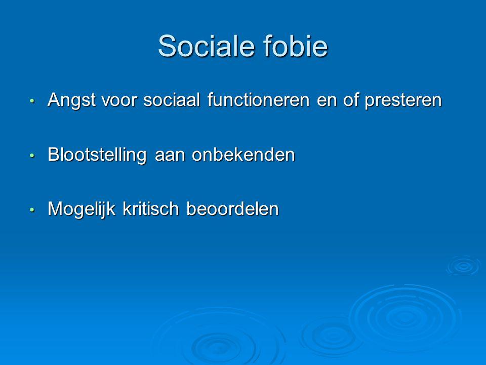 Sociale fobie Angst voor sociaal functioneren en of presteren