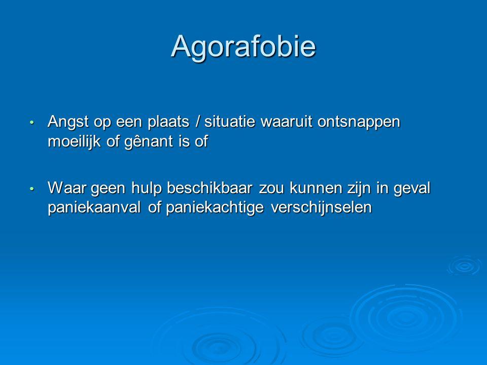 Agorafobie Angst op een plaats / situatie waaruit ontsnappen moeilijk of gênant is of.