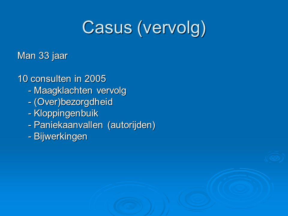Casus (vervolg) Man 33 jaar 10 consulten in 2005