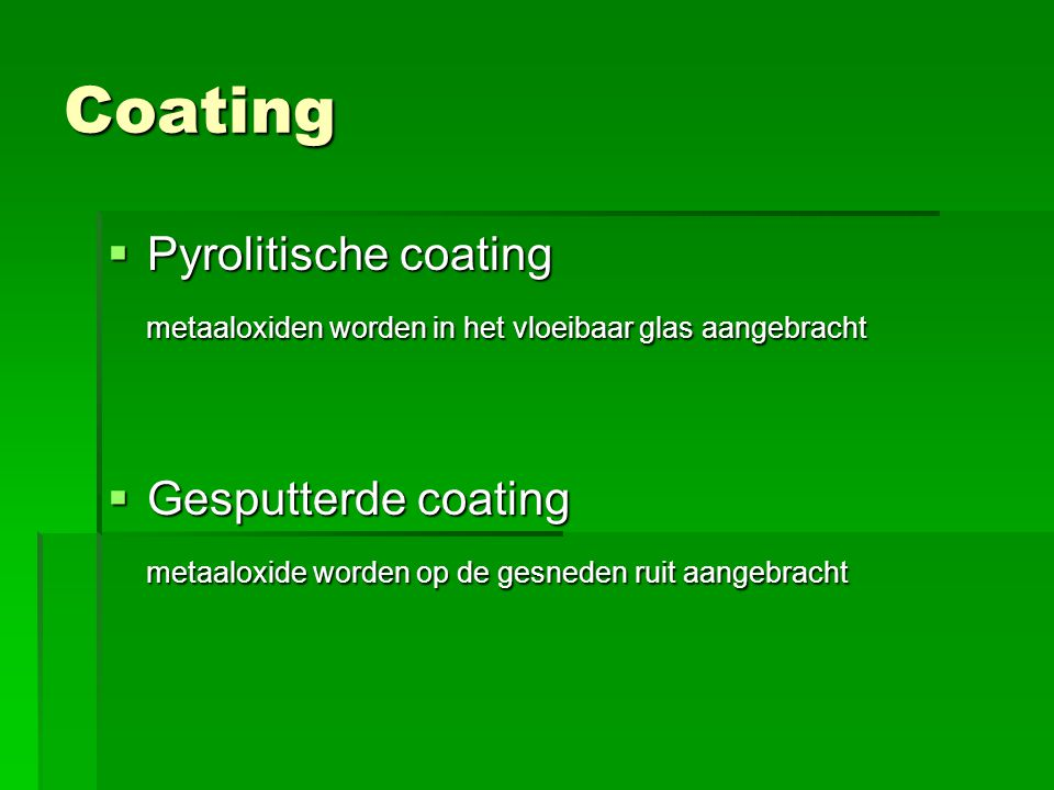 Coating Pyrolitische coating