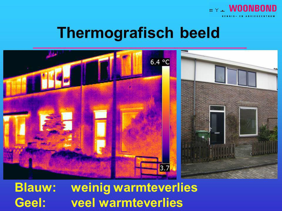 Thermografisch beeld Blauw: weinig warmteverlies