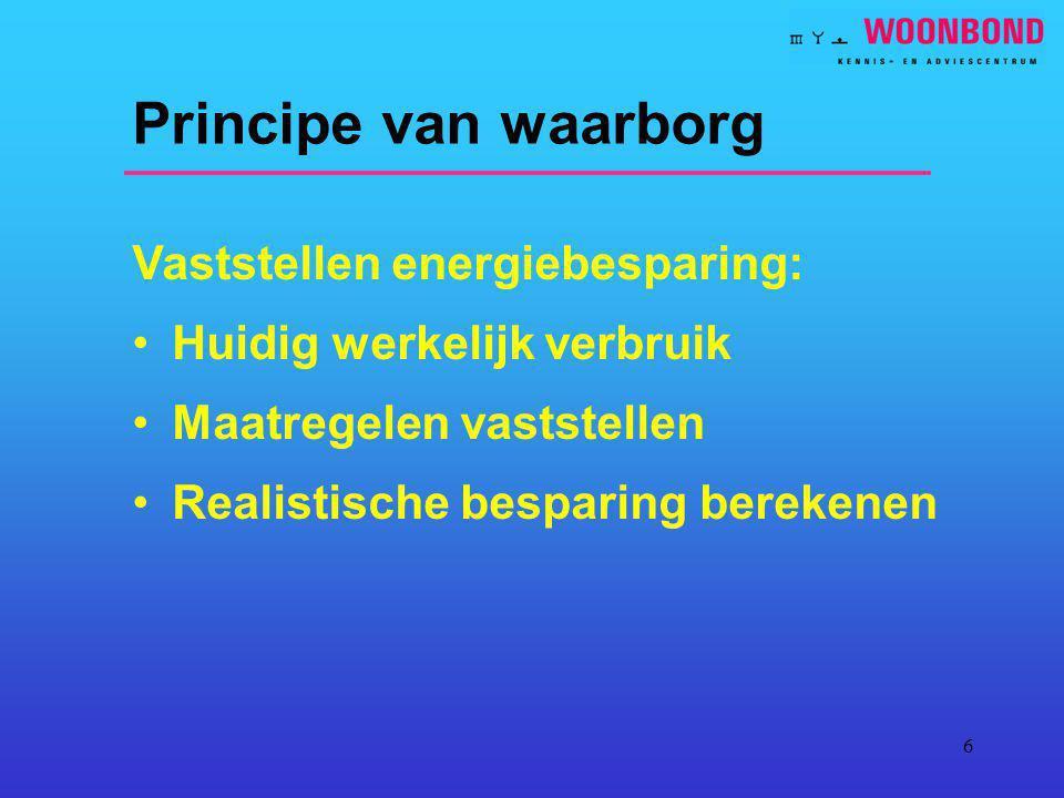 Principe van waarborg Vaststellen energiebesparing: