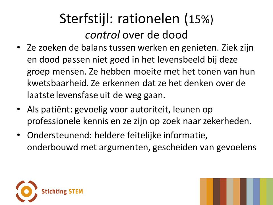 Sterfstijl: rationelen (15%) control over de dood