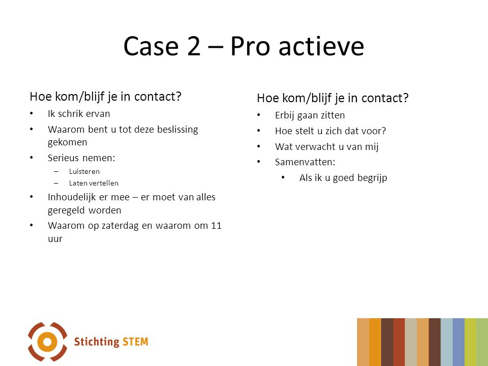Case 2 – Pro actieve Hoe kom/blijf je in contact