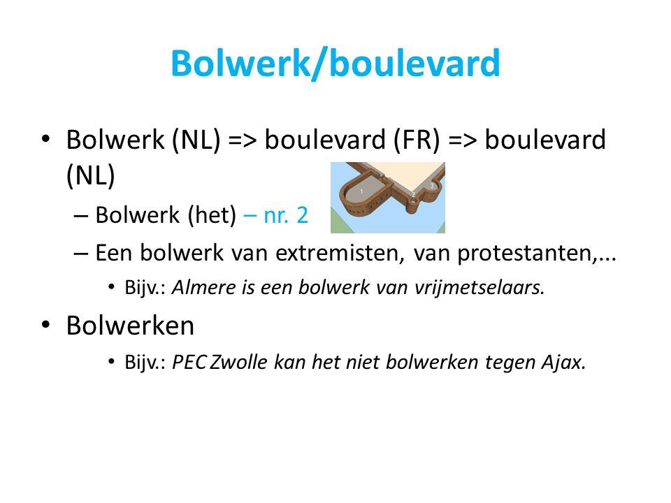 Bolwerk/boulevard Bolwerk (NL) => boulevard (FR) => boulevard (NL) Bolwerk (het) – nr. 2. Een bolwerk van extremisten, van protestanten,...