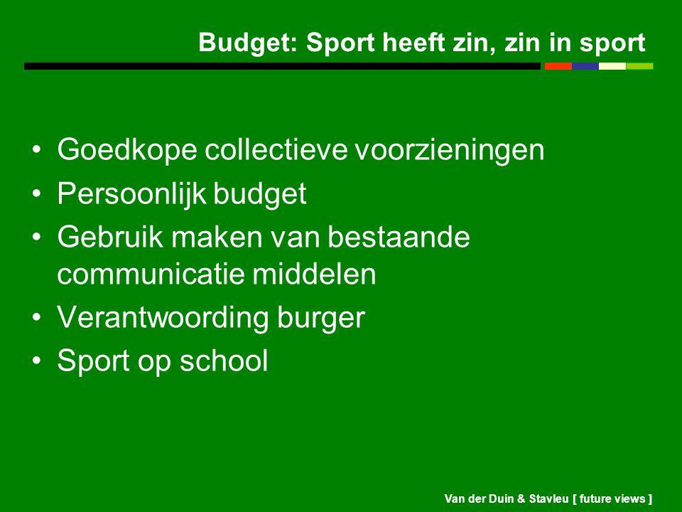 Budget: Sport heeft zin, zin in sport