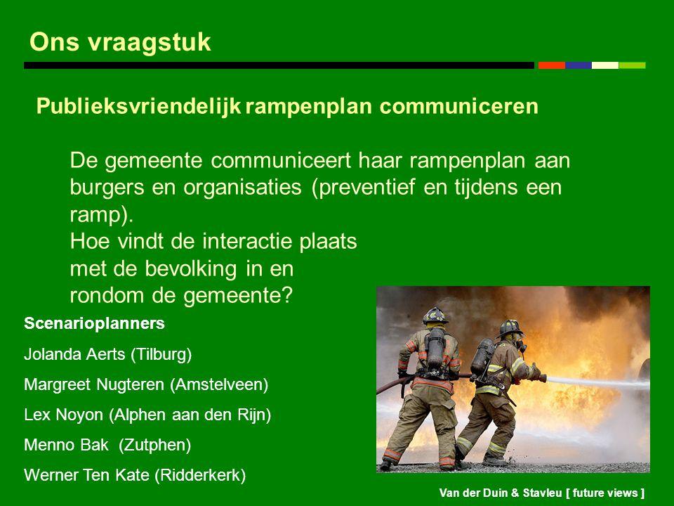Ons vraagstuk Publieksvriendelijk rampenplan communiceren
