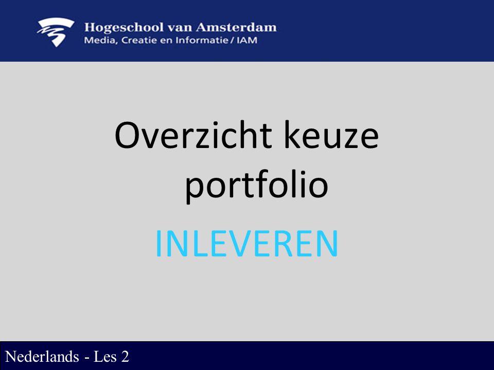 Overzicht keuze portfolio