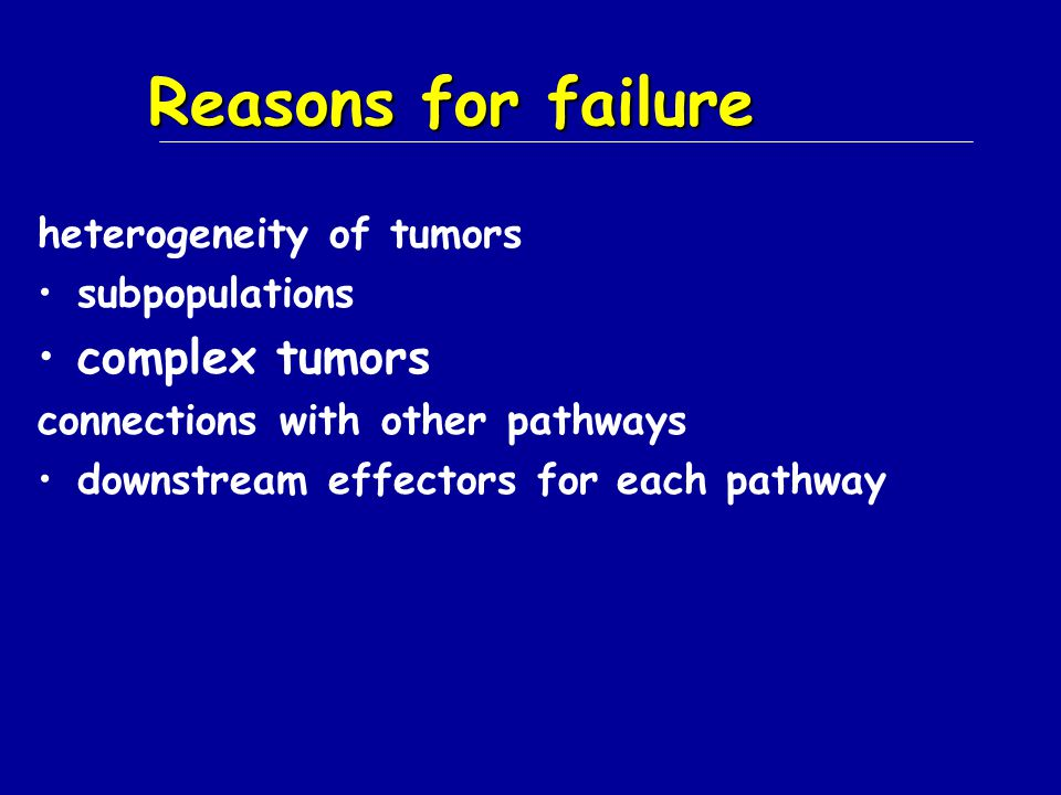 Reasons for failure complex tumors heterogeneity of tumors