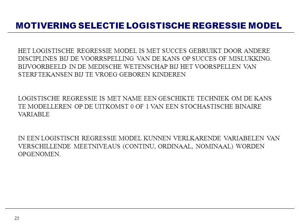 MOTIVERING SELECTIE LOGISTISCHE REGRESSIE MODEL