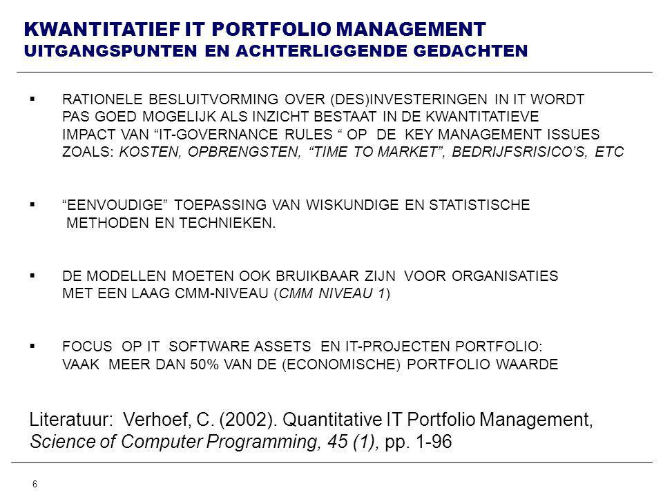 Literatuur: Verhoef, C. (2002). Quantitative IT Portfolio Management,