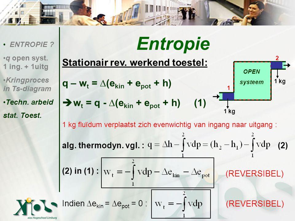 Entropie Stationair rev. werkend toestel: q – wt = ∆(ekin + epot + h)