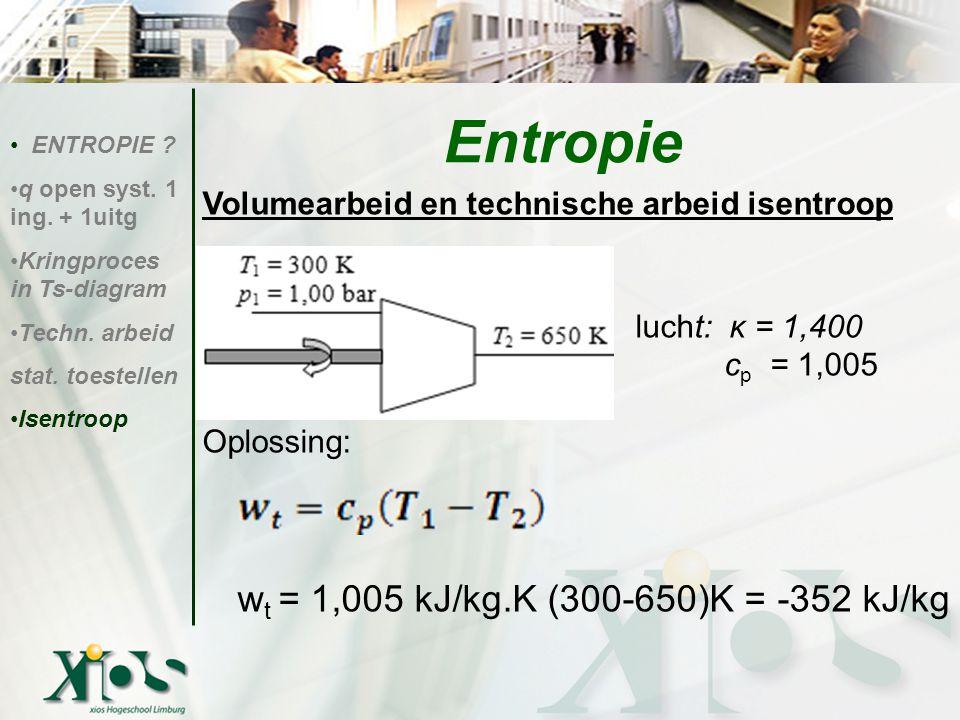 Entropie Volumearbeid en technische arbeid isentroop lucht: κ = 1,400
