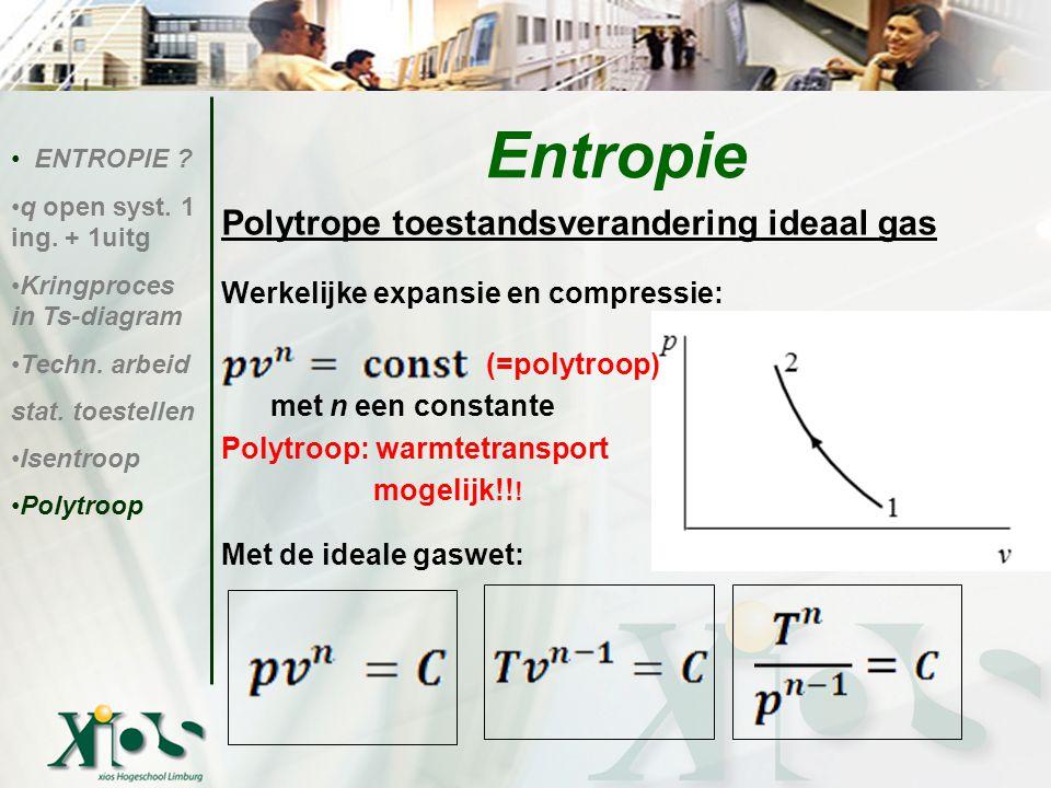Entropie Polytrope toestandsverandering ideaal gas