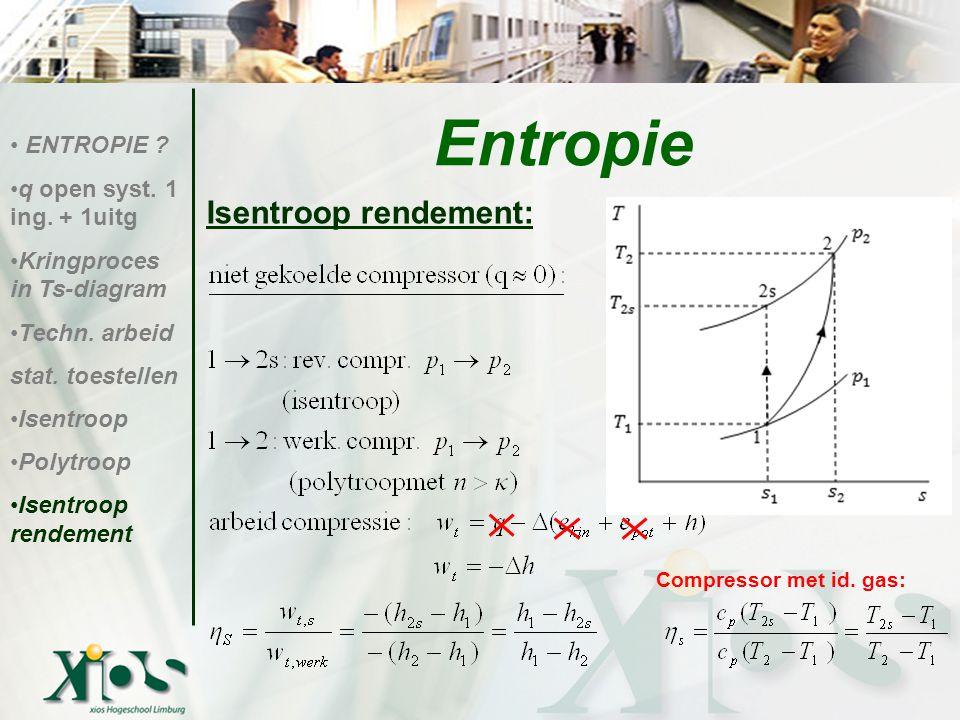 Entropie Isentroop rendement: Compressor met id. gas: ENTROPIE
