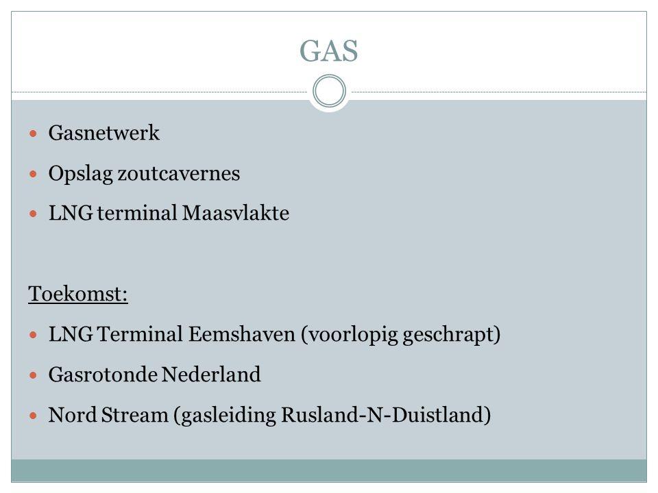 GAS Gasnetwerk Opslag zoutcavernes LNG terminal Maasvlakte Toekomst: