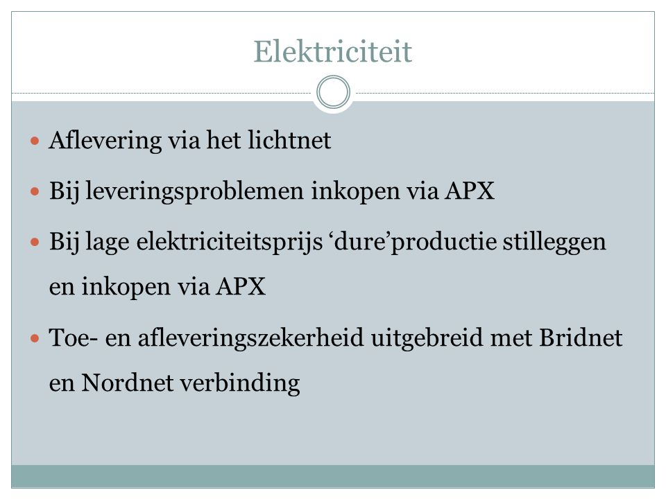 Elektriciteit Aflevering via het lichtnet