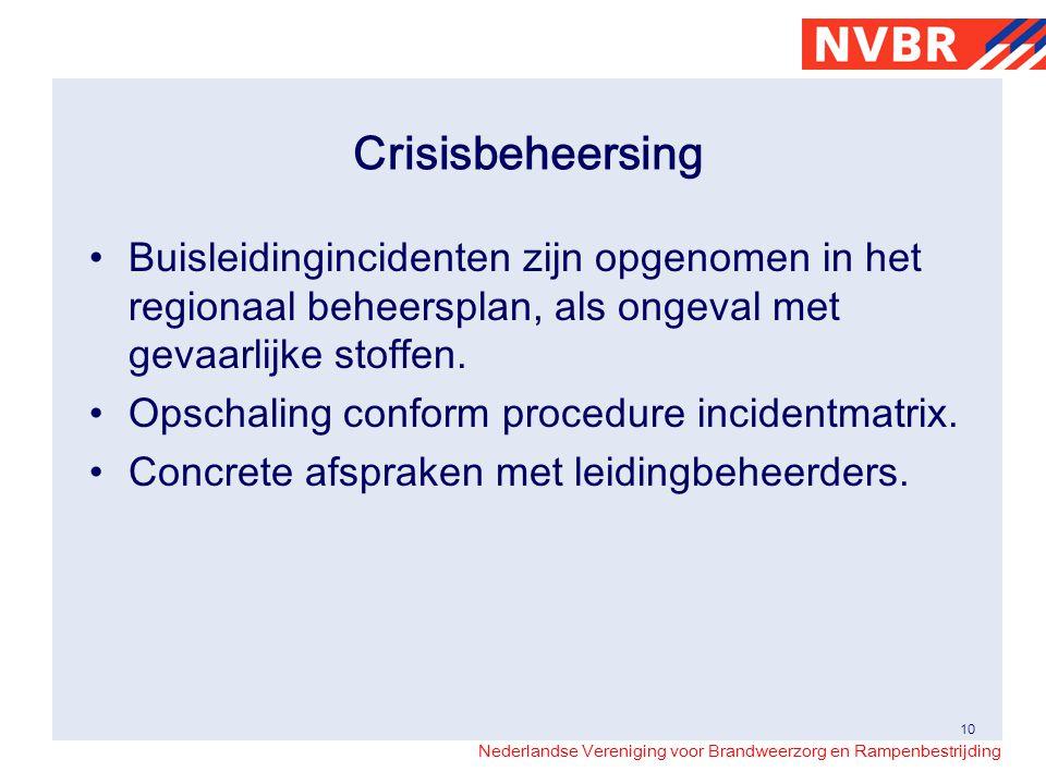 Crisisbeheersing Buisleidingincidenten zijn opgenomen in het regionaal beheersplan, als ongeval met gevaarlijke stoffen.
