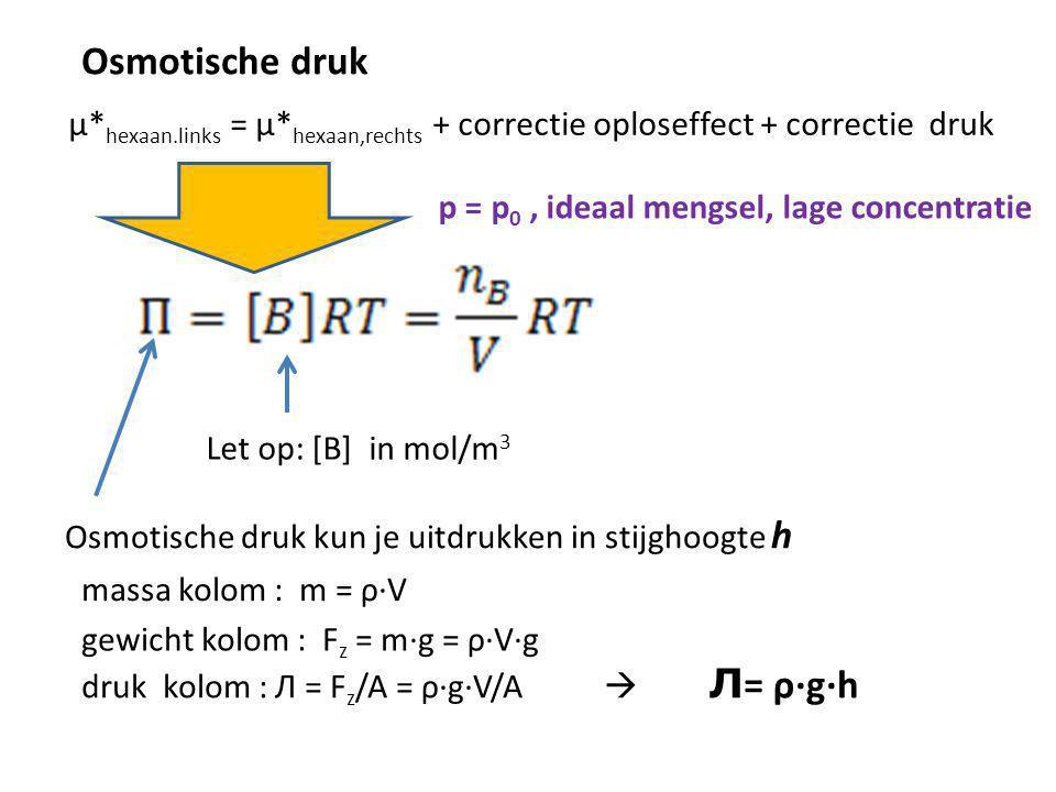 Osmotische druk µ*hexaan.links = µ*hexaan,rechts + correctie oploseffect + correctie druk. p = p0 , ideaal mengsel, lage concentratie.