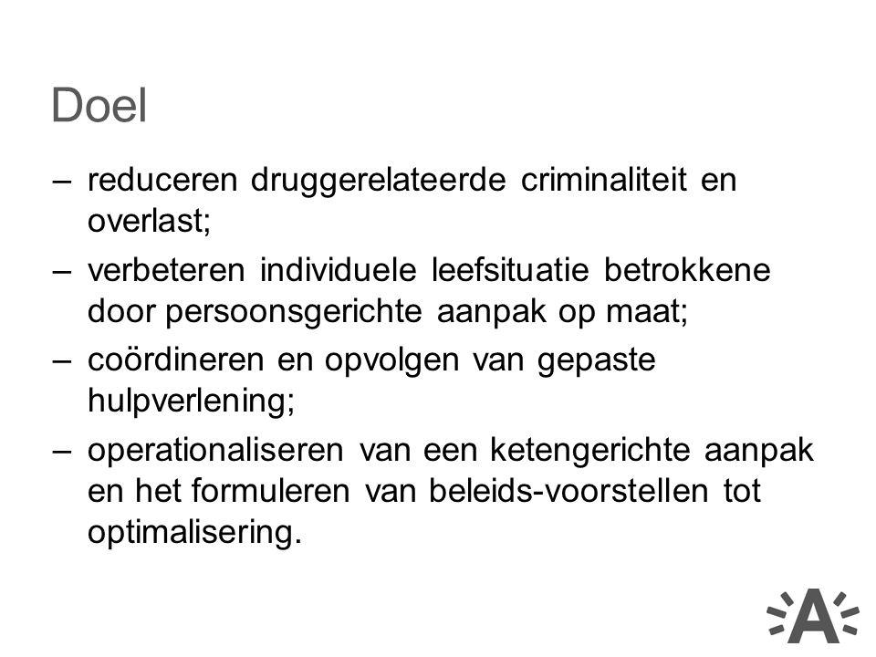 Doel reduceren druggerelateerde criminaliteit en overlast;