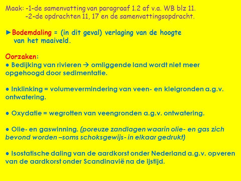 Maak: -1-de samenvatting van paragraaf 1. 2 af v. a. WB blz 11
