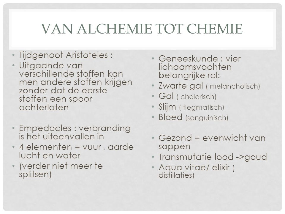 Van alchemie tot chemie