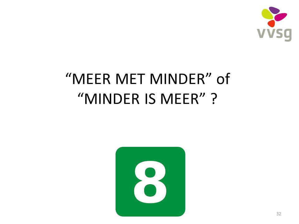 MEER MET MINDER of MINDER IS MEER