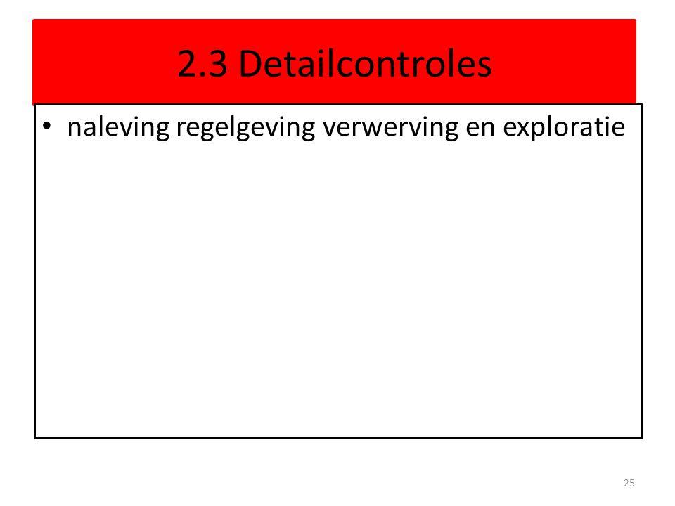 2.3 Detailcontroles naleving regelgeving verwerving en exploratie